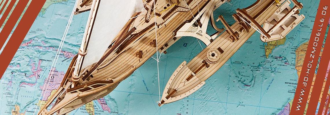 Holzbausatz Schiff Trimaran Merinhobus